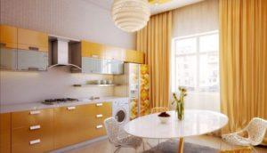 10 Yummy Looking Fully Flared DIY Kitchen Window Curtain in Yellowish Orange Shade in Plain OneH ...