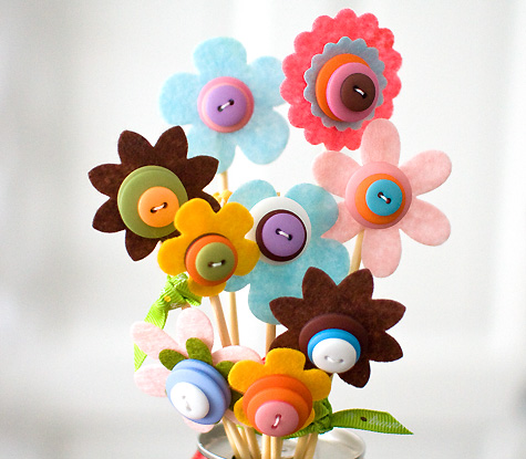 A Spectacular Spring Flower Bouquet Made of Various Colorful Buttons