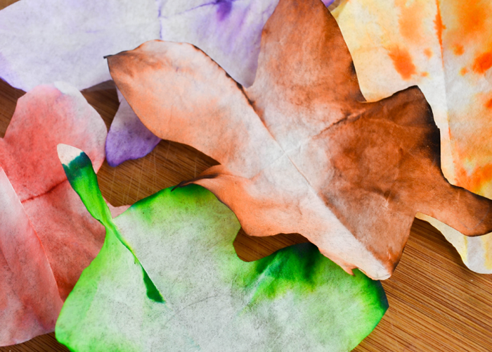 Colorful Coffee Filter Autumn Leaves with Stem: A Fall Decor