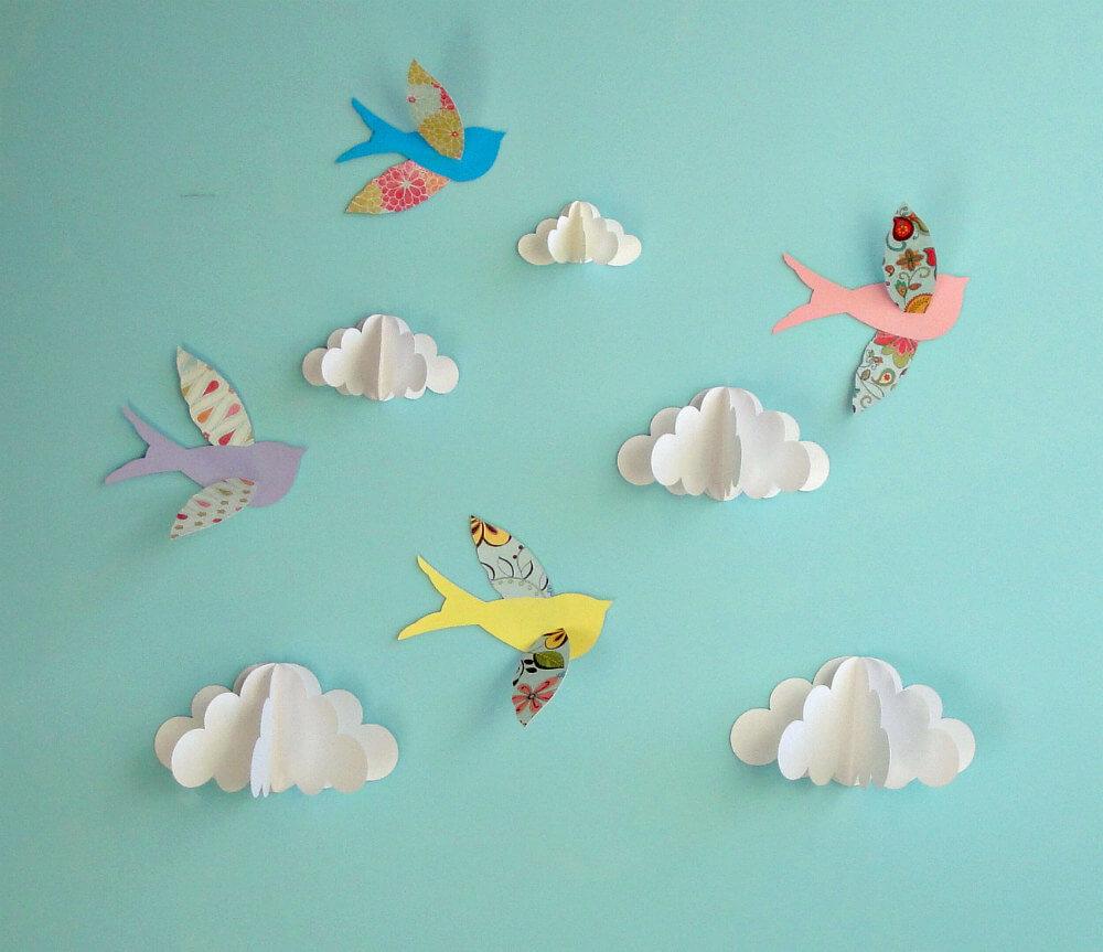 DIY Scrapbook Decor Paper Birds and Clouds: Back-to-School Craft