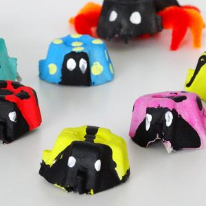 Easy Peasy Colorful Bug Crafts from Egg Carton with Different Color Accents