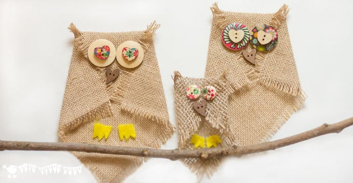 No-Sew Burlap Owl Craft with Clear Button Eyes