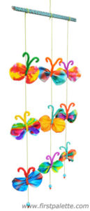Butterfly Mobile Craft from Colorful Coffee Filters