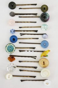 Cute Hairpins with Decorated Button Ends