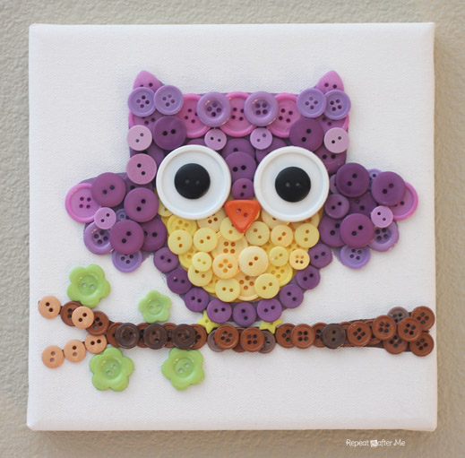 A Complete Button Owl Craft with a Seating Branch