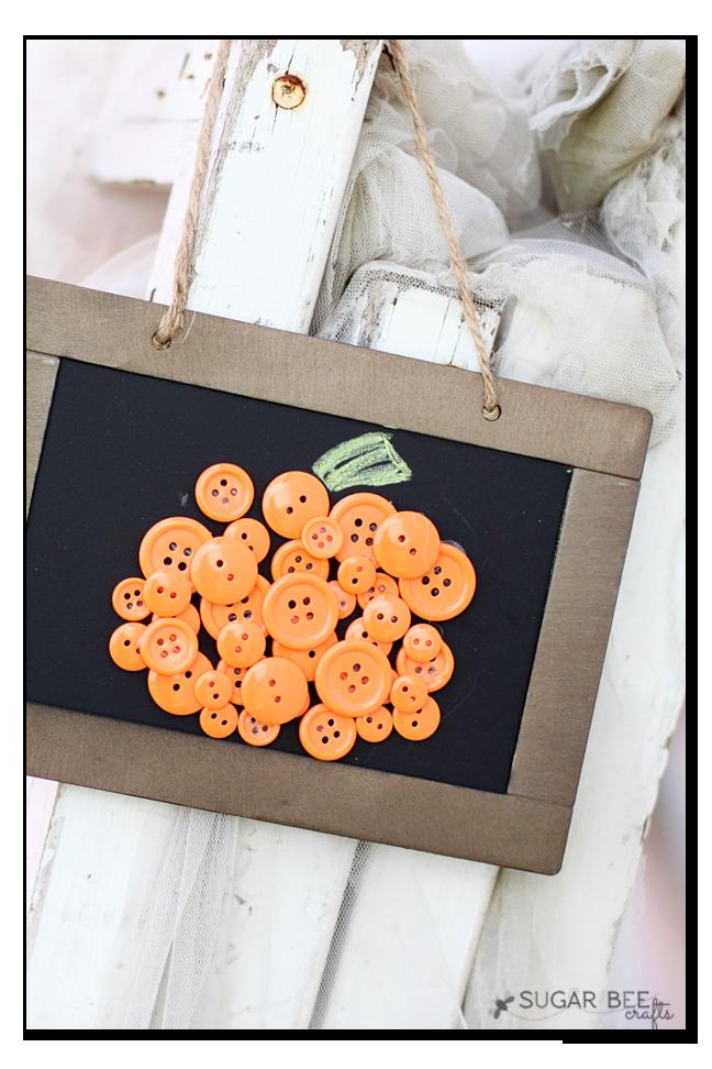 Button Pumpkin Craft – DIY Wall Art on Slate Frame