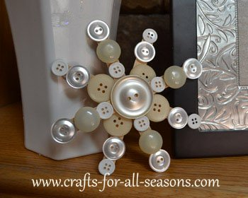 Utterly Simple Button Snowflake over Popsicle Stick Base