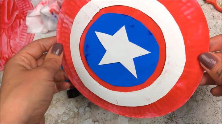 Paper Plate Captain America Shield
