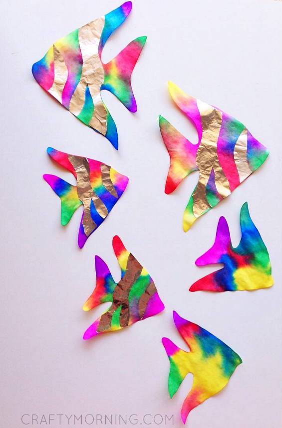 Wonderful Coffee Filter Rainbow Fish Craft Idea
