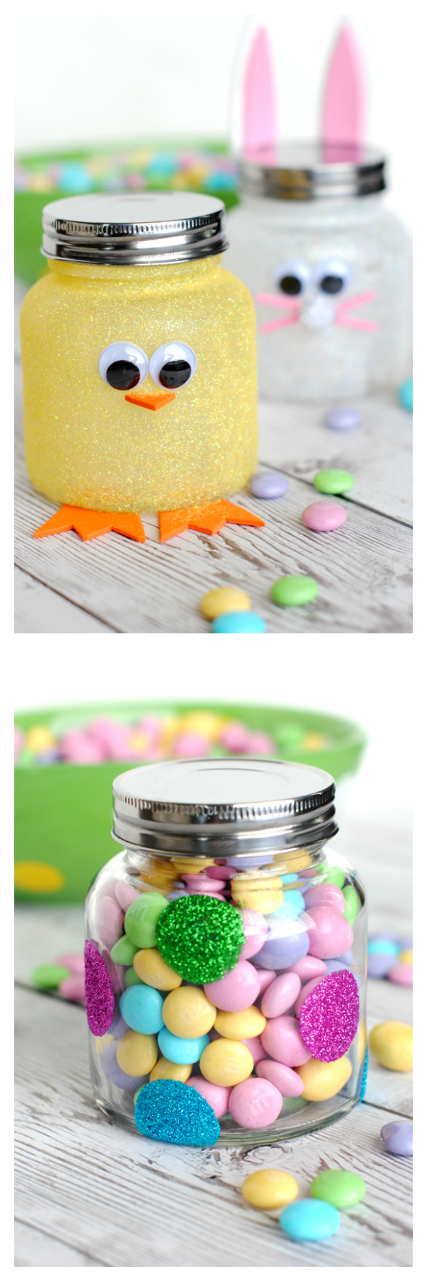 Super Easy Easter Jar Decor as Cute Chick Form
