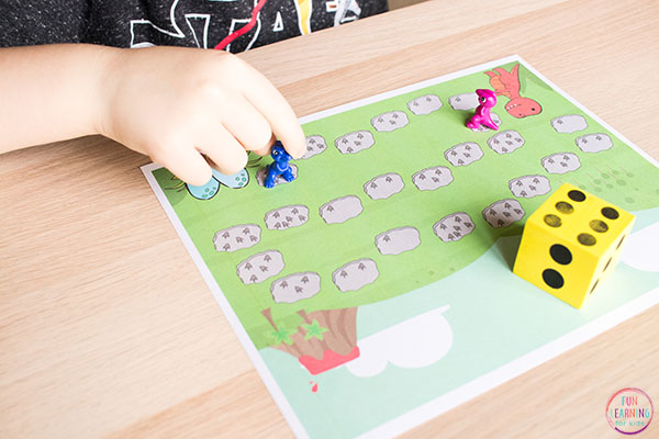 DIY Gaming Craft: Dinosaur Board Game Counting Activity with Handmade Dino Borad