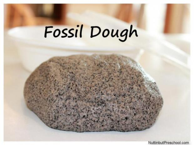 DIY Dino Craft- Homemade Fossil Dough from Kitchen Ingredients