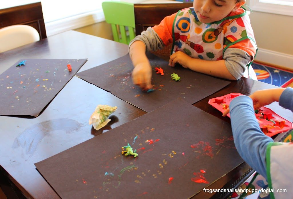 Dinosaur Paintings with Miniature Dinosaurs: A Cute Dino Activity for Kids