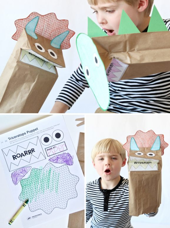 Dinosaur Party with Land of Nod- An Easy Paper Dino Puppet