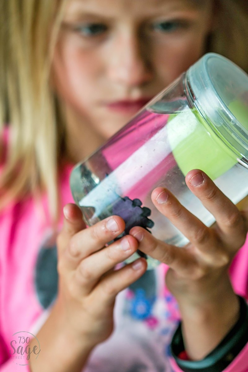 Dinosaur Sensory Bottle Game idea with Miniature Dino