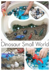 DIY Dinosaur Activity: Dinosaur Sensory Bin Small World with Pebbles and Sand
