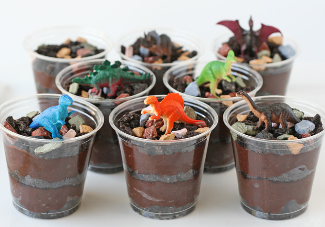 DIY Dino Theme Dessert: Dinosaur in Dirt with Worms and Mud