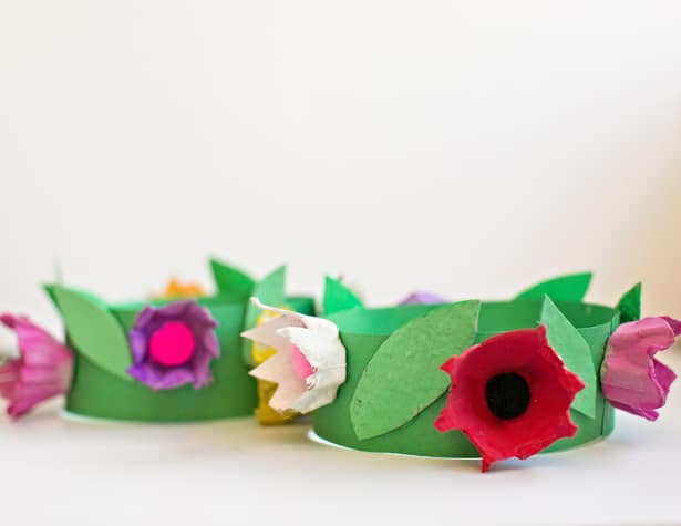 Beautiful Egg Carton Flower Crown for Spring Time Crafts