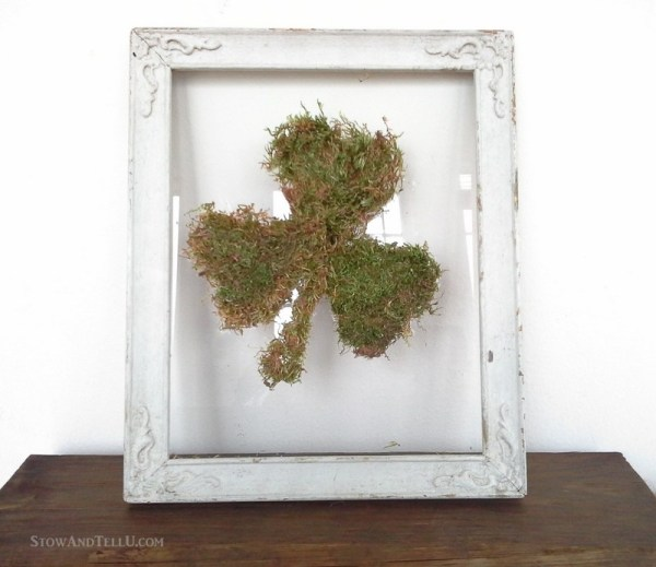 DIY Moss Craft: Framed Shamrock Wall Art