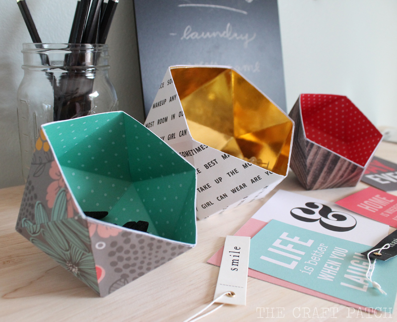 DIY Paper Decor with Geometric Bowls with Colorful Scrapbook Papers