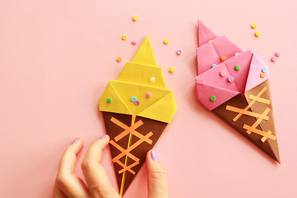 DIY Origami Paper Ice Cream Craft with No Cut Only Fold Technique