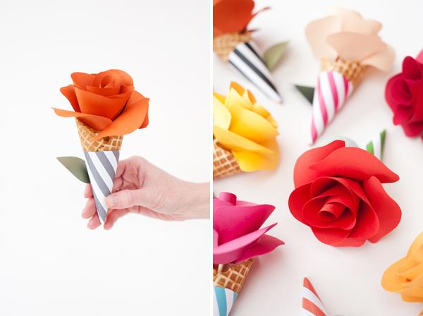 DIY Paper Craft: Plain Paper Flower Cone Bouquets