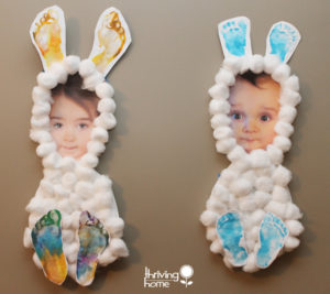 Little Bunny Frames as DIY Easter Craft with Cotton Balls