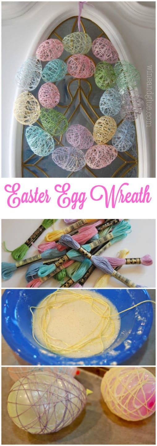 Unique Easter Egg Wreath with Yarn-Made Eggs