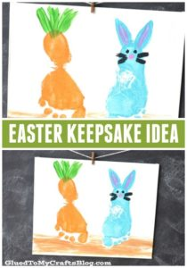 Quick Easter Bunny and Carrot Painting from Footprints