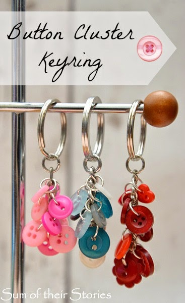 Colorful Button Keyring with Metallic Accent