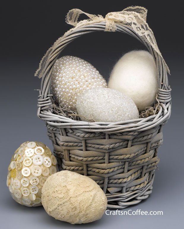 Jewelled Easter Eggs with Brilliant Button Decor