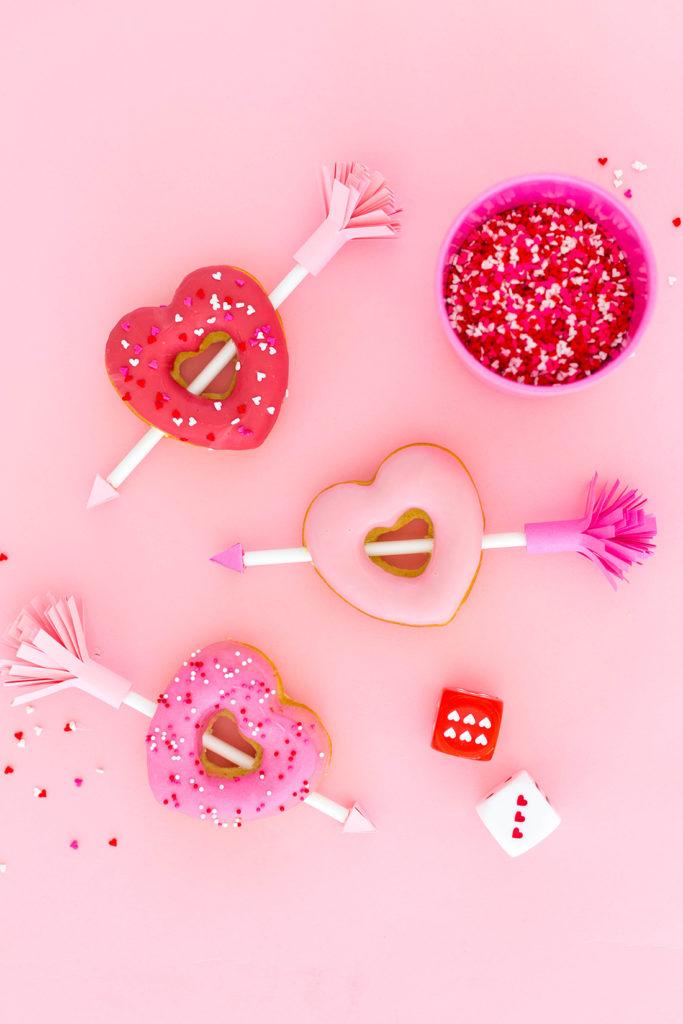 Easy Valentine's Day Arrow Heart Donuts