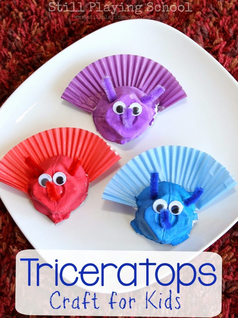 Triceratops Dinosaur Heads with Egg Carton and Cupcake Liners