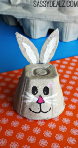 Cute Egg Carton Bunny Face Craft with Painted Facial Features