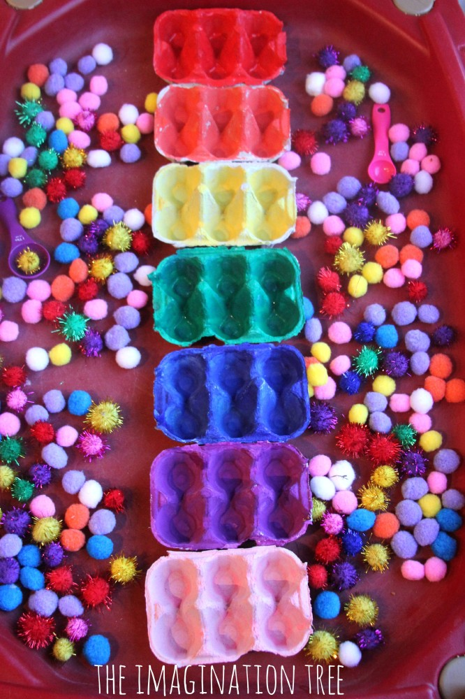 Egg Carton Colour Sorting Structures for Rainbow Pom-Poms