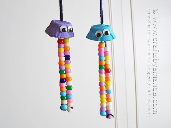 Egg Carton Jelly Fish Hanging Craft with Colorful Beads