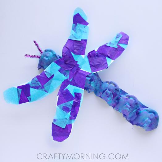 Vibrant Dragon Fly Egg Carton Craft for Kids
