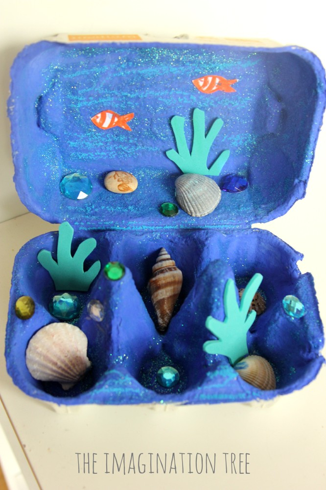 Egg Carton Ocean Craft: Perfect UNderwater View with Some Sea Creatures