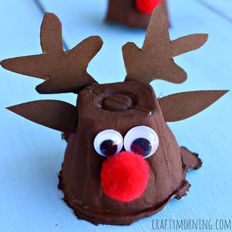 Charming DIY Christmas Craft: Egg Carton Reindeer Head