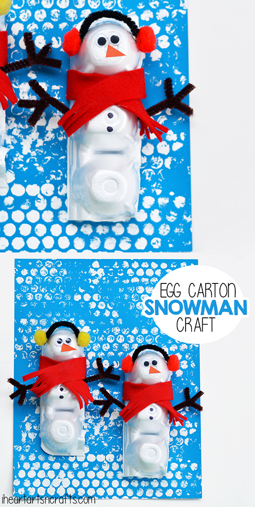 DIY Winter Craft: Egg Carton SNowman with Cute Decorating Ornaments