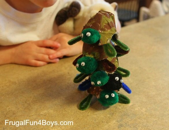 Egg Carton Turtle Piles with Pipe Cleaner Legs and Googly Eyes