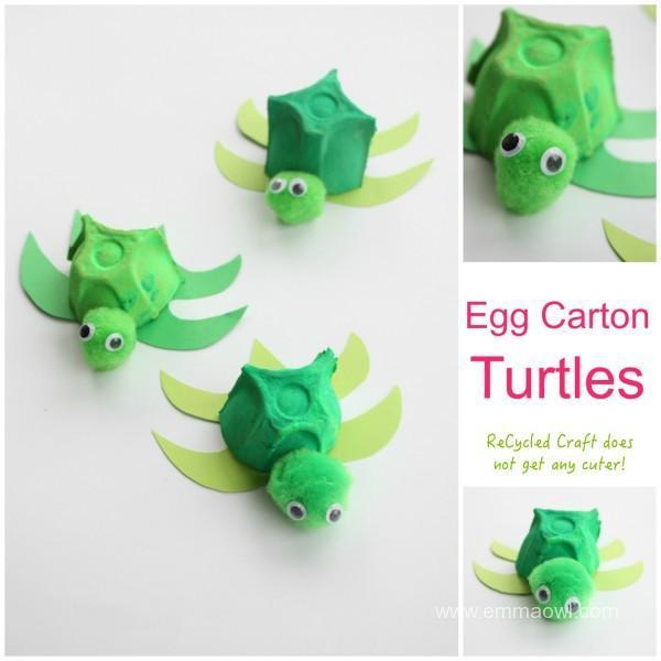 DIY Recycled Project for Kids: Egg Carton Turtles