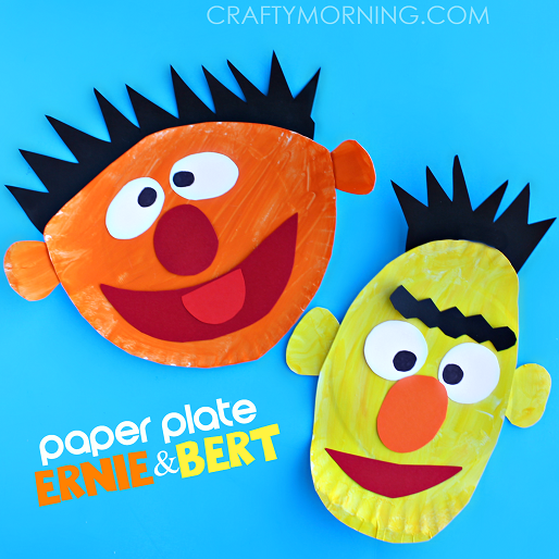 Paper Plate Craft of Ernie and Bert Face