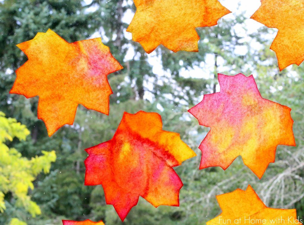 Fall Window Art: Coffee Filter Leaf Suncatchers