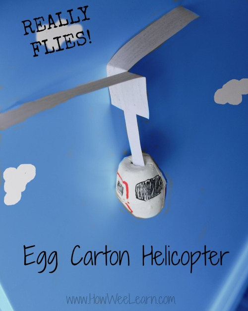 DIY Flying Object for Kids: Cute Egg Carton Helicopter