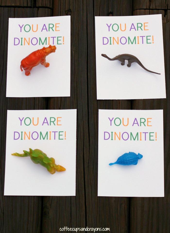 Free Printable DIY Dinosaur Valentines for Kids with Miniature Dinos