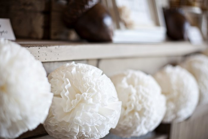 Coffee Filter Pom-Poms for Festive Decoration