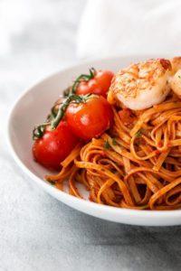 Garlic Butter Shrimp Pasta with Tomato Sauce – valentines day dinner ideas