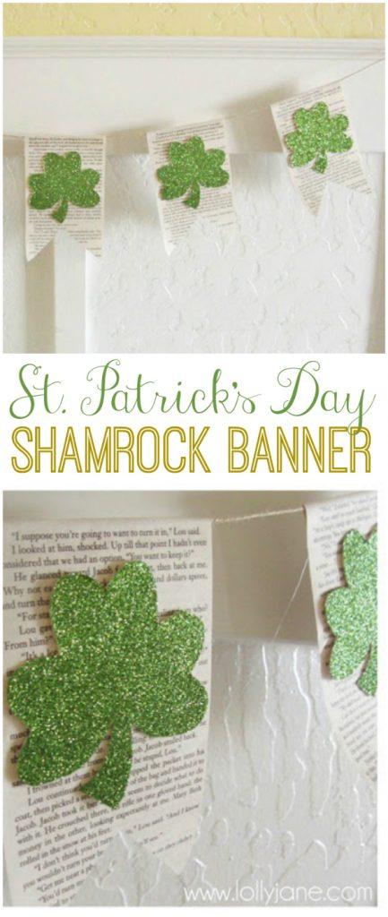Glittery DIY Shamrock Banner