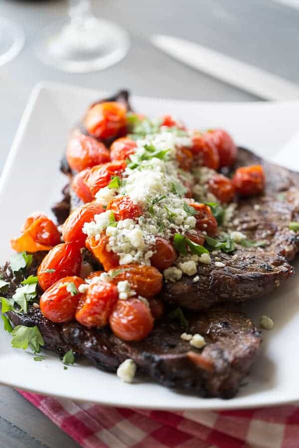 Grilled Sirloin Steak With Roasted Tomatoes and Blue Cheese – Valentines Day Dinner Ideas